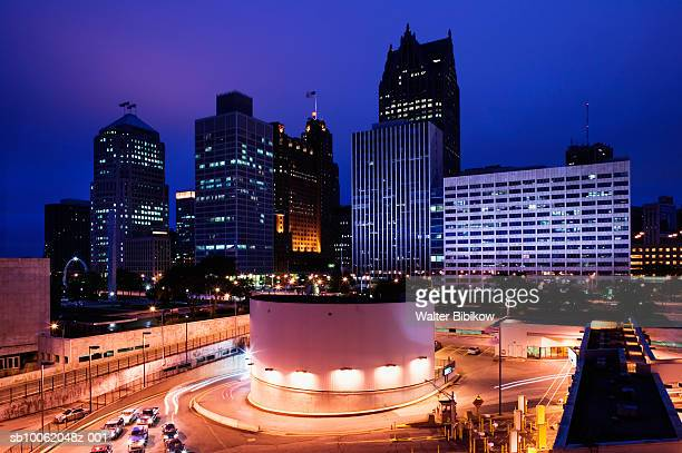 usa, michigan, detroit, city skyline and entrance to detroit-windsor ontario tunnel - detroit michigan stock pictures, royalty-free photos & images