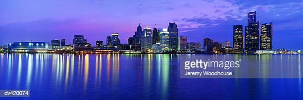 USA, Michigan, Detroit skyline, night
