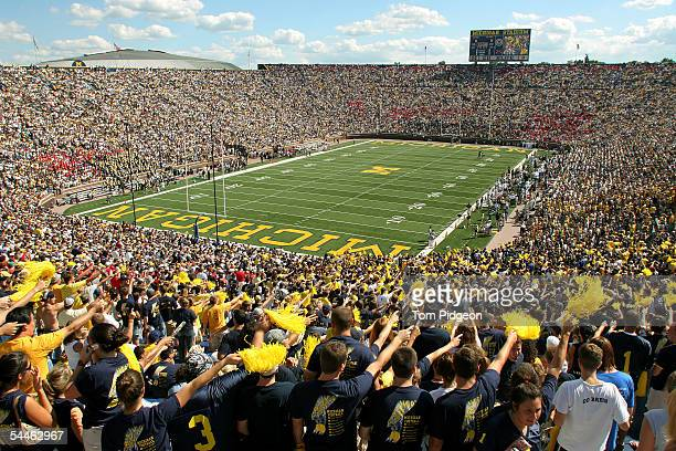 Michigan fans cheer prior to the start of the home opener against Northern Illinois at Michigan Stadium on September 3 2005 in Ann Arbor Michigan