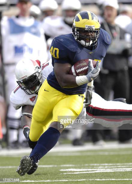 Michigan fullback Obi Oluigbo during the game between the Ball State Cardinals and the University of Michigan Wolverines at Michigan Stadium in Ann...