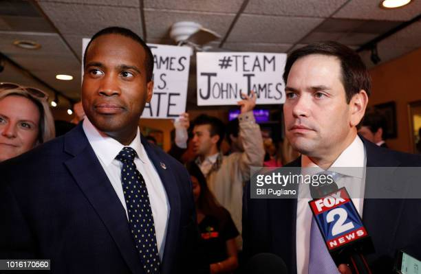 Michigan GOP US Senate candidate John James campaigns with the help of Sen Marco Rubio at Senor Lopez Restaurant August 13th 2018 in Detroit Michigan...