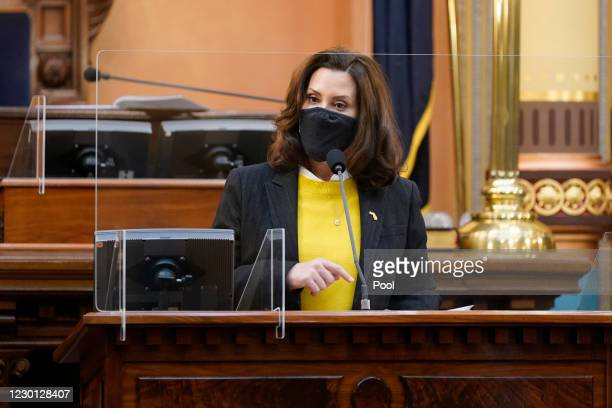 Michigan Gov. Gretchen Whitmer addresses the state's Electoral College at the state Capitol on December 14, 2020 in Lansing, Michigan. Michigan's 16...