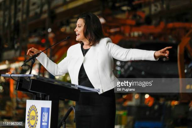 Michigan Gov Gretchen Whitmer speaks at an event where General Motors Chairman and CEO Mary Barra announced a $300 million investment in the GM Orion...