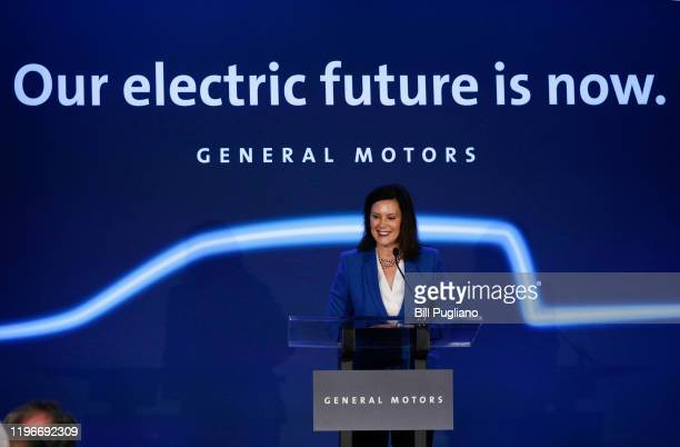 Michigan Gov Gretchen Whitmer speaks at an event where General Motors announce that GMs DetroitHamtramck Assembly plant will build the allelectric...