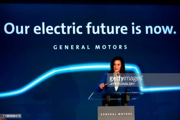 Michigan Gov Gretchen Whitmer speaks at the Detroit Hamtramck assembly plant on January 27 2020 in Detroit Michigan GM announced a $22 billion USD...