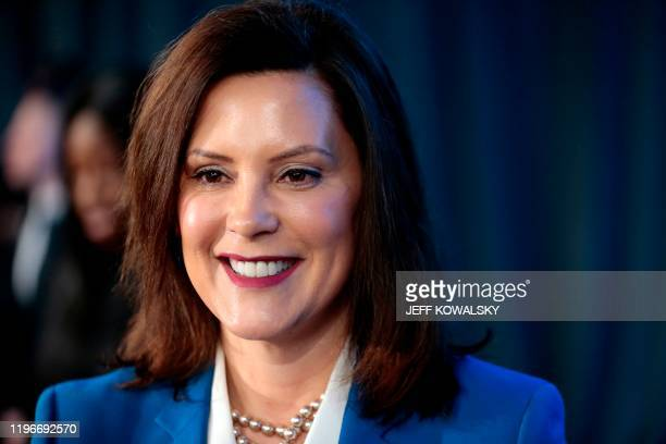 Michigan Gov Gretchen Whitmer speaks at the General Motors Detroit Hamtramck assembly plant on January 27 2020 in Detroit Michigan GM announced a $22...