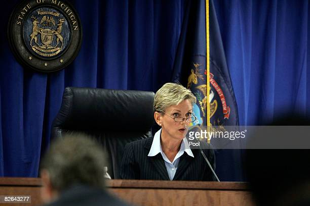 Michigan Gov Jennifer Granholm holds a public hearing that could result in the removal of Detroit Mayor Kwame Kilpatrick from office September 3 2008...