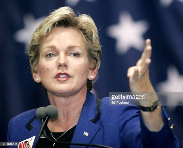 Michigan Gov Jennifer Granholm speaks at a rally at Wayne State University to support Michigan democrats November 4 2006 in Detroit Michigan About...