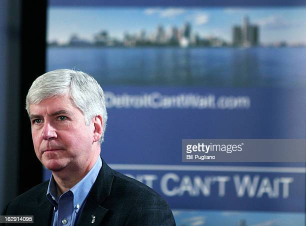 Michigan Gov Rick Snyder announces he will appoint an Emergency Financial Manager for the city of Detroit during a town hall meeting at Wayne State...