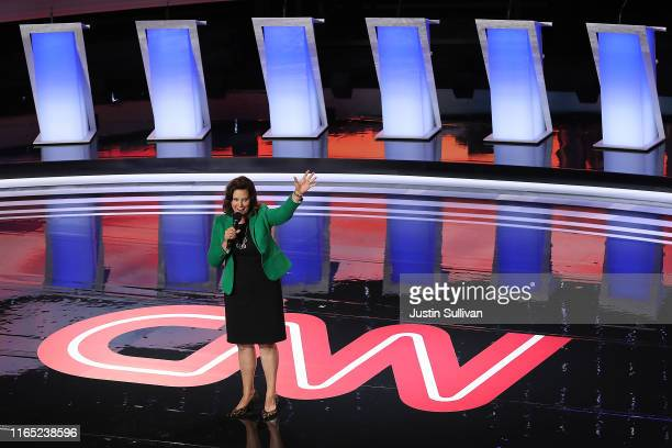 Michigan Governor Gretchen Whitmer greets the crowd at the start of the Democratic Presidential Debate at the Fox Theatre July 30 2019 in Detroit...