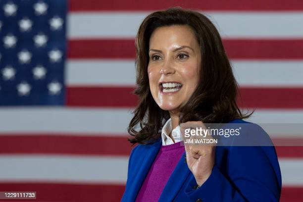 Michigan Governor Gretchen Whitmer introduces Democratic Presidential Candidate Joe Biden to speak at Beech Woods Recreation Center in Southfield,...
