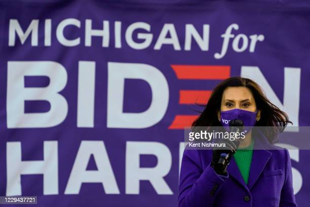 Michigan Governor Gretchen Whitmer speaks during canvas launch event at the parking lot of the 14th District Democratic Party Headquarters on Monday,...
