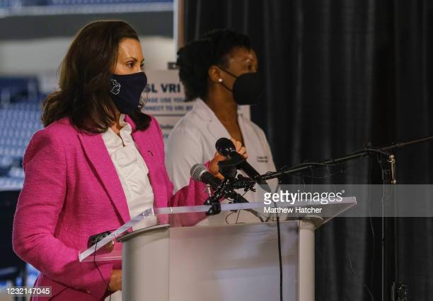 Michigan Governor Gretchen Whitmer speaks to members of the press about the rising numbers of Covid-19 cases in Michigan and the vaccine availability...