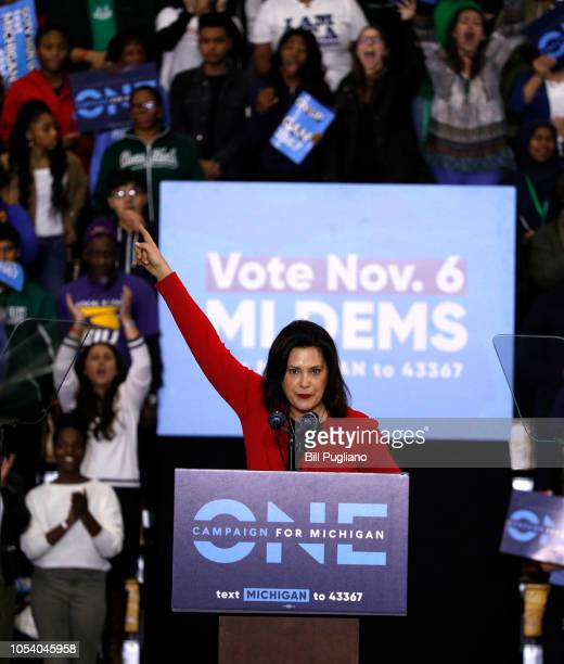 Michigan gubernatorial candidate Gretchen Whitmer speaks at a Democratic rally attended by former President Barack Obama and former Attorney General...