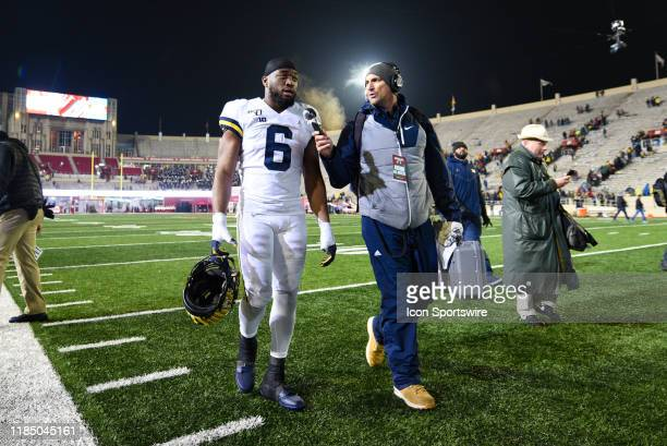 Michigan Josh Uche walking off the field following a college football game between the Michigan Wolverines and Indiana Hoosiers on November 23 at...