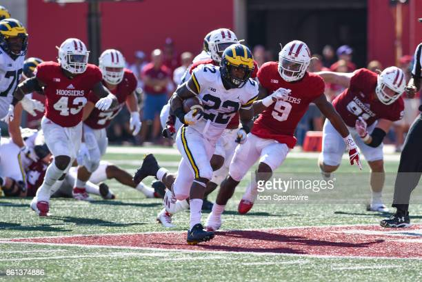Michigan Karan Higdon breaks into the open field during a college football game between the Michigan Wolverines and the Indiana Hoosiers on October...