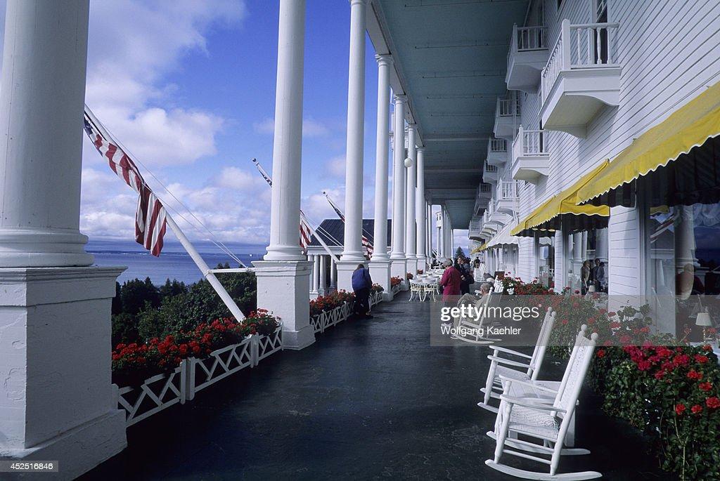 Usa Michigan Lake Huron Mackinac Island Grand Hotel Porch
