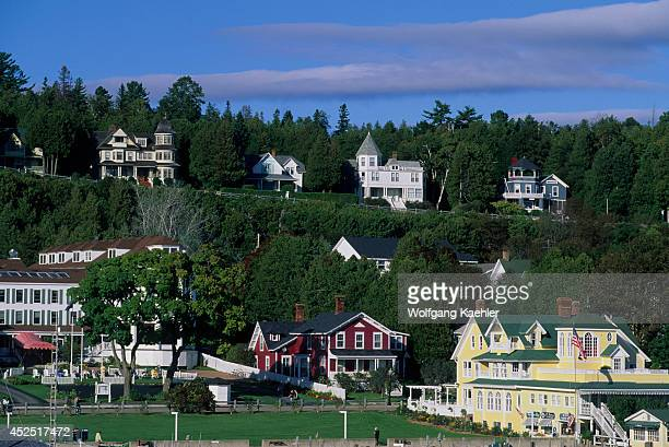 USA Michigan Lake Huron Mackinac Island View Of Village