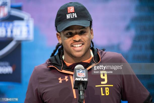 Michigan linebacker Devin Bush answers questions from the media during the NFL Scouting Combine on March 2 2019 at the Indiana Convention Center in...