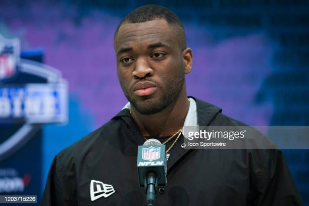 Michigan linebacker Josh Uche answers questions from the media during the NFL Scouting Combine on February 27 2020 at the Indiana Convention Center...