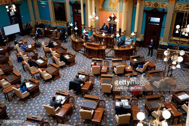 Michigan Lt. Gov. Garlin Gilchrist opens the states Electoral College session at the state Capitol, December 14, 2020 in Lansing, Michigan. - Joe...