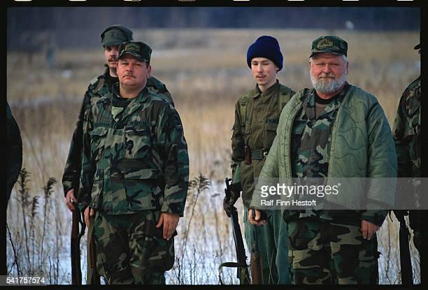 Michigan Militiamen at Attention
