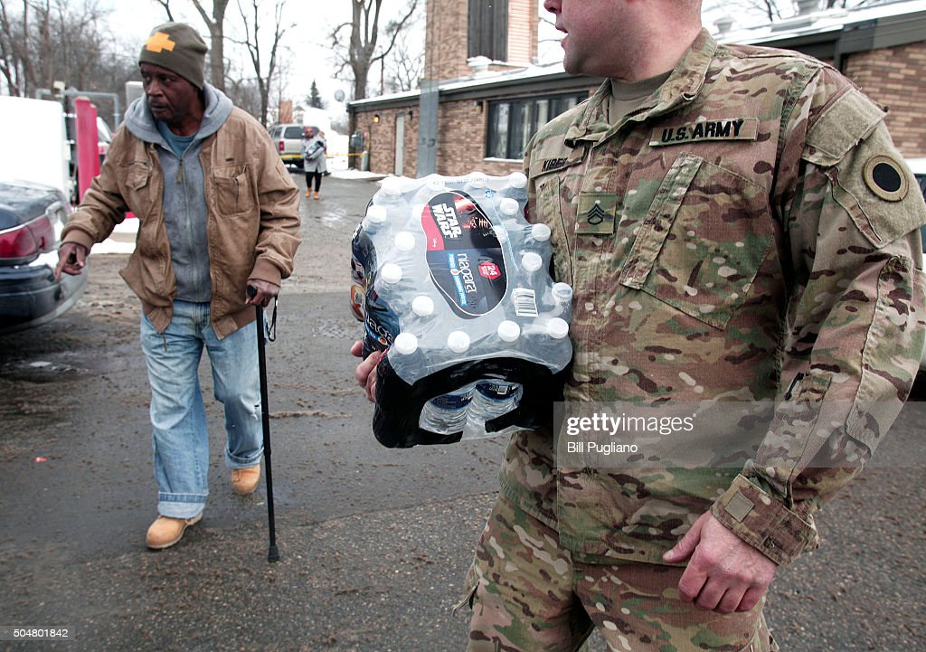 Michigan National Guard To Help  Flint With Lead Contamination In Water Supply : News Photo