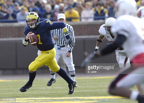Michigan quarterback Chad Henne during the game between the Ball State Cardinals and the University of Michigan Wolverines at Michigan Stadium in Ann...