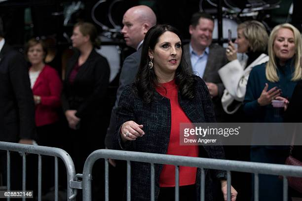 Michigan Republican Party Chair Ronna Romney McDaniel exits the stage after speaking ahead of Presidentelect Donald Trump at the DeltaPlex Arena...