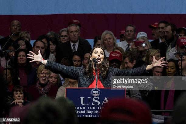 Michigan Republican Party Chair Ronna Romney McDaniel speaks before Presidentelect Donald Trump at the DeltaPlex Arena December 9 2016 in Grand...