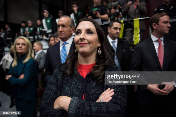 Michigan Republican Party Chairman Ronna Romney McDaniel listens as PresidentElect Donald J Trump speaks at a 'USA Thank You Tour 2016' event at the...