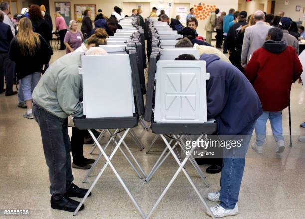 Michigan residents stand in line and vote in the presidential election November 4, 2008 at the Owen Jax Recreation Center in Warren, Michigan. Voting...