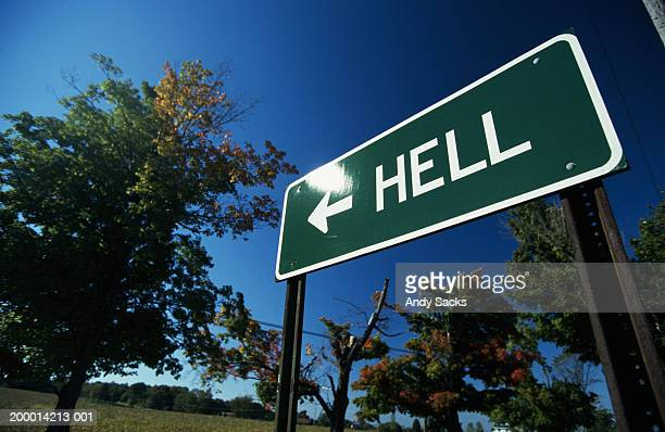 usa, michigan, road sign - hell stock pictures, royalty-free photos & images