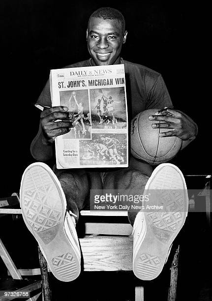 Michigan star Cazzie Russell at Madison Square Garden today where his team went through a workout for Saturday's ECAC championship game against St...