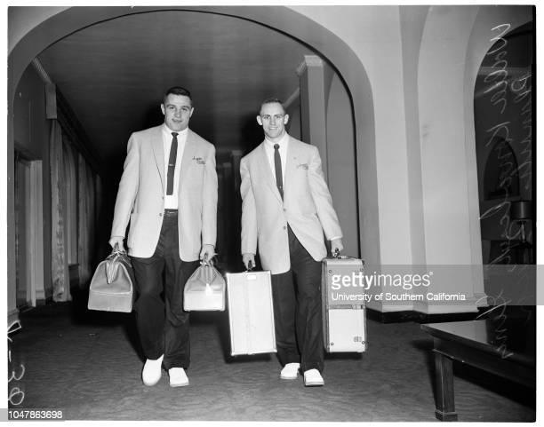 Michigan State arrival. December 16 1955. Don Ashen;Lathrop Leishman;Captain Nystrom;Coach Daugherty;Phyllis Smith;Dan Currie;Pat Burke;Walter...