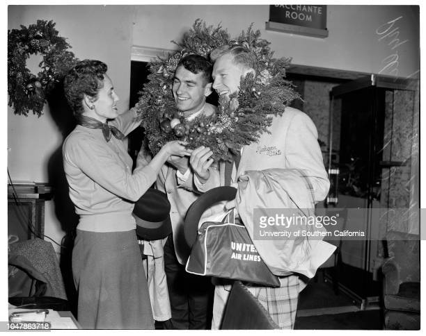 Michigan State arrival December 16 1955 Don AshenLathrop LeishmanCaptain NystromCoach DaughertyPhyllis SmithDan CurriePat BurkeWalter KowalcykGerry...