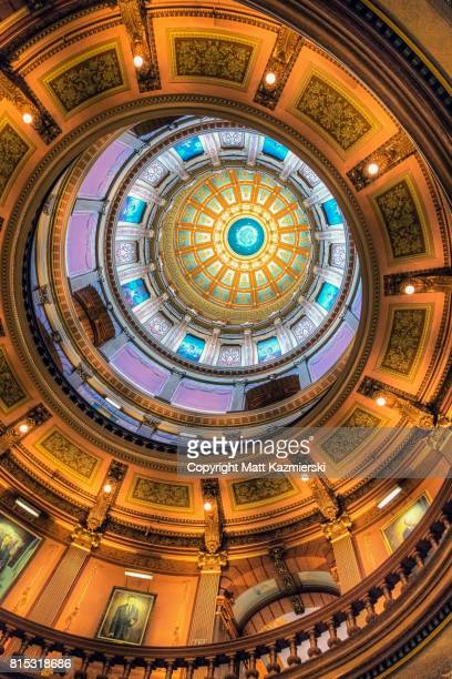 michigan state capitol building ceiling - ingham county  michigan stock pictures, royalty-free photos & images
