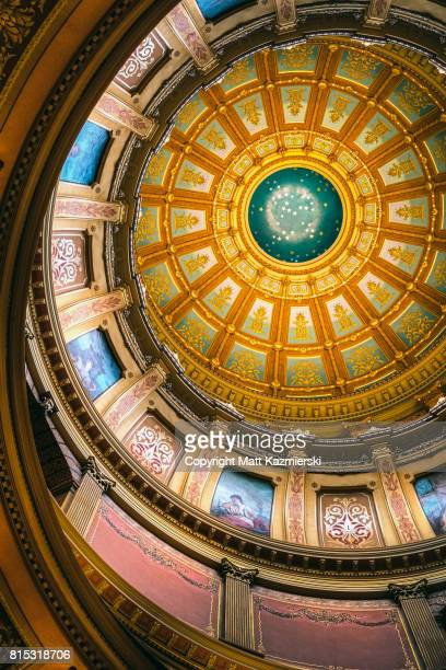 michigan state capitol psychedelic ceiling - ingham county  michigan stock pictures, royalty-free photos & images