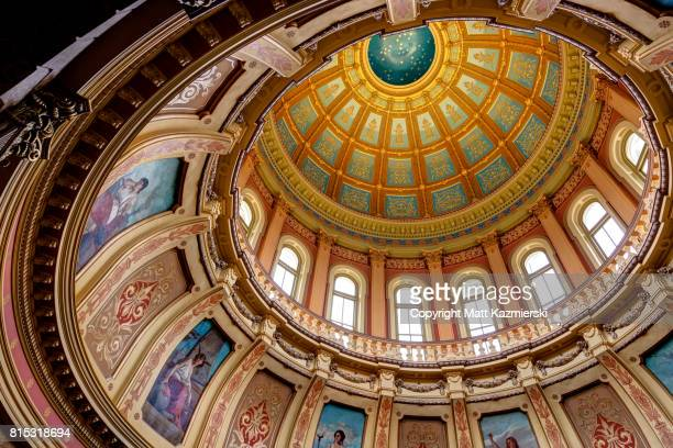 michigan state capitol rotunda ceiling - michigan state capitol stock pictures, royalty-free photos & images