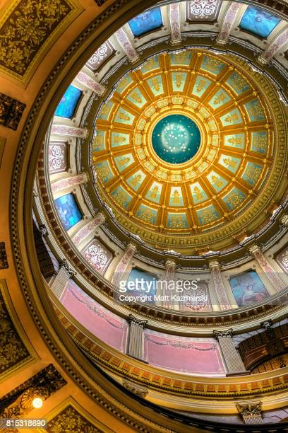 michigan state capitol rotunda vertical ceiling - ingham county  michigan stock pictures, royalty-free photos & images