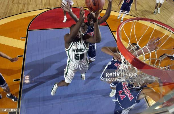 Michigan State center Zach Randolph goes to the basket during the Division 1 semifinal game of the Men's Final Four Basketball Championship held at...