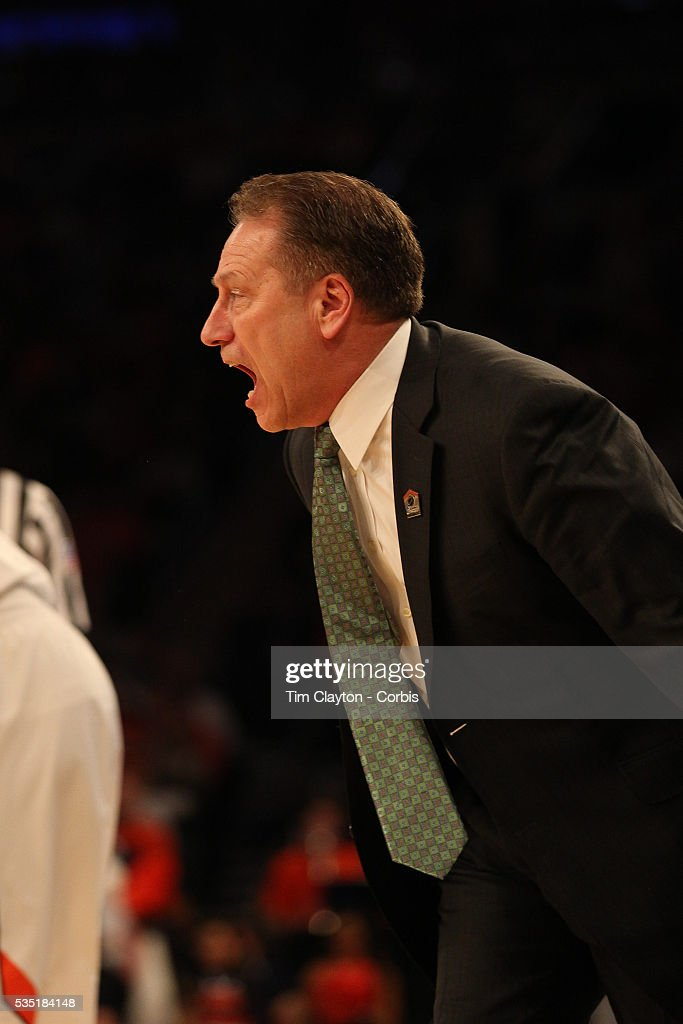 Michigan State coach Tom Izzo on the sideline during the Virginia Cavaliers Vs Michigan State Spartans basketball game during the 2014 NCAA Division 1 Men's Basketball Championship, East Regional at Madison Square Garden, New York, USA. 28th March 2014. Photo Tim Clayton