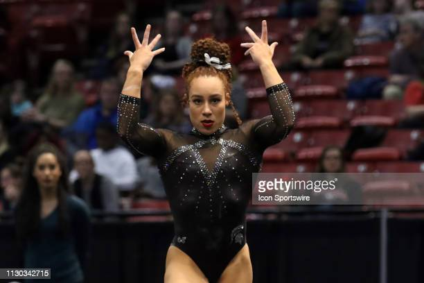 Michigan State gymnast Gabriella Douglas during the Elevate the Stage Meet on March 8 2019 at Legacy Arena in Birmingham Alabama