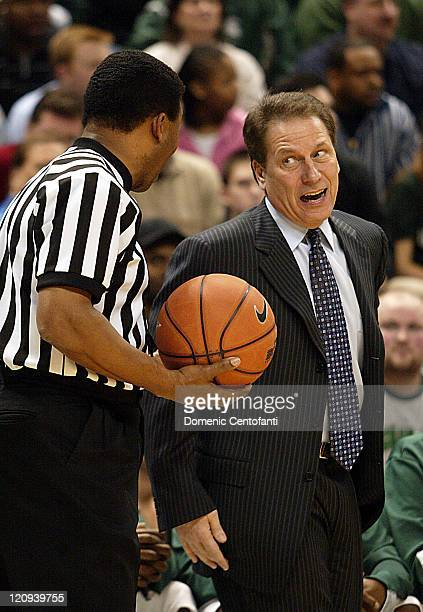 Michigan State head coach Tom Izzo disputes a call with an official Michigan State played host to Indiana in the Spartans' Big Ten home opener The...