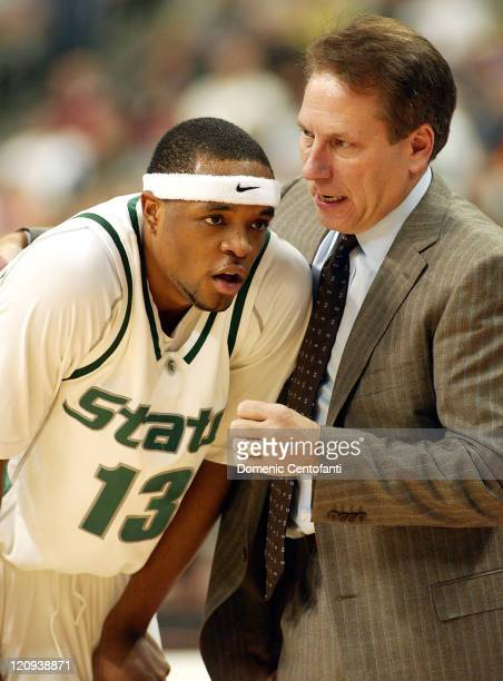 Michigan State head coach Tom Izzo talks with leading scorer Maurice Ager late in the second half Ager had 21points against Wichita State Wichita...