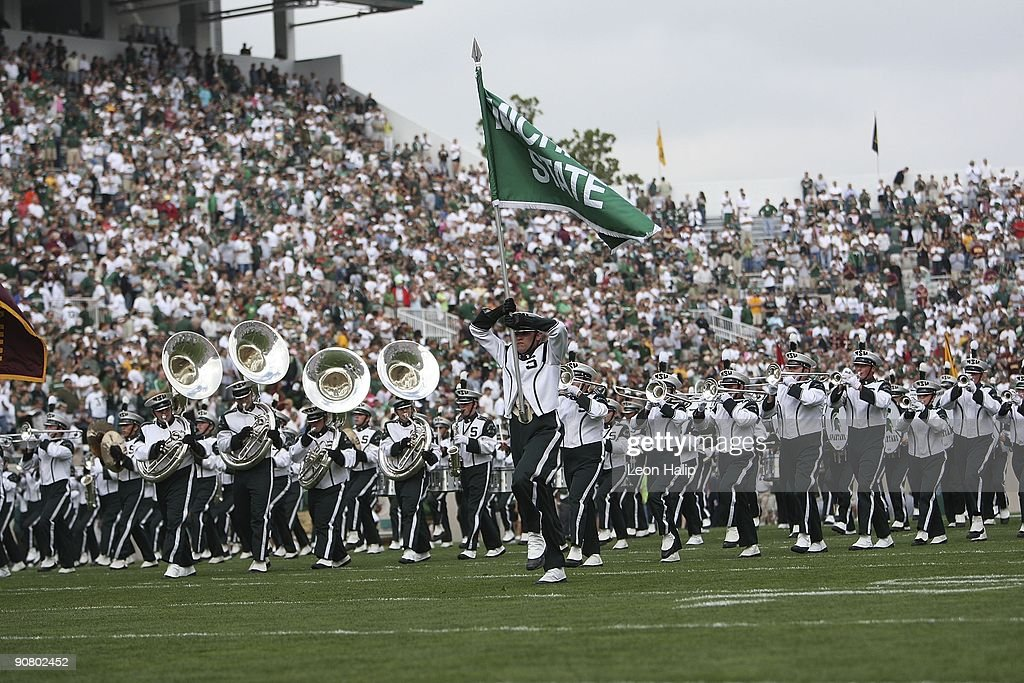 Michigan State Marching Band plays at the start of the game against the Central Michigan University Chippewas at Spartan Stadium on September 12, 2009 in East Lansing, Michigan. Central Michigan won the game 29-27.