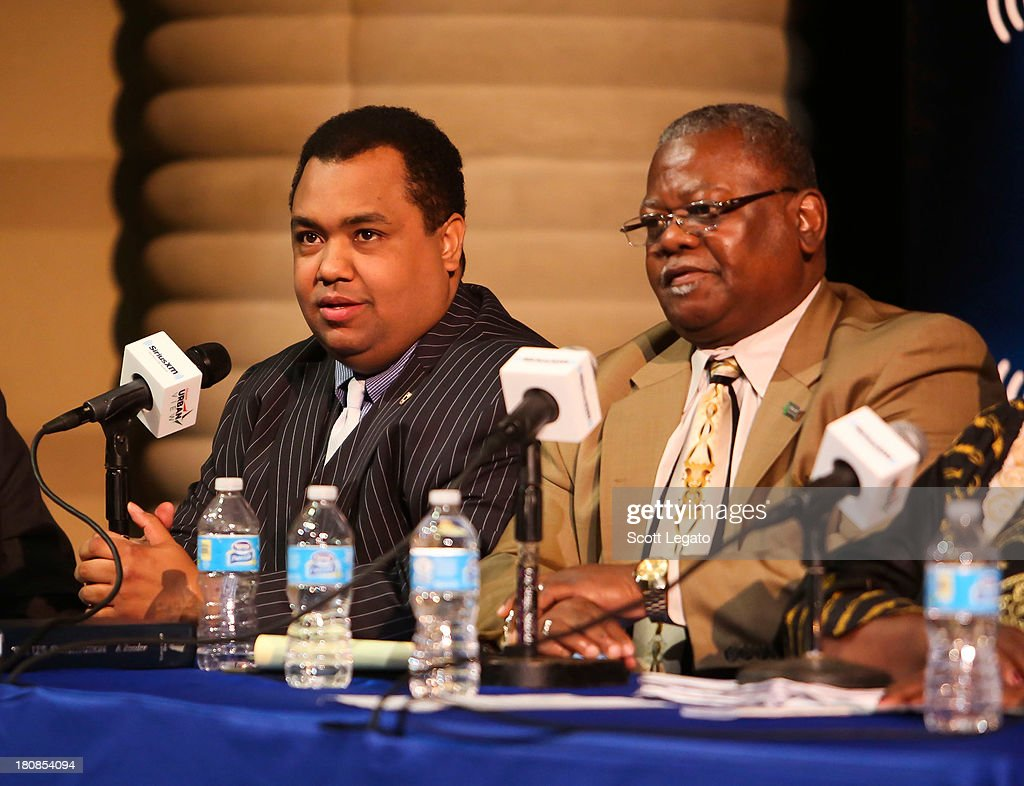 Michigan State Senator Coleman Young, II (L) and Special Assistant to President AFSCME 25 Ed McNeil speak at Charles H. Wright Museum of African American History on September 16, 2013 in Detroit, Michigan.