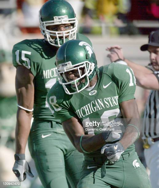 Michigan State sophomore Terry Love celebrates after a 39yard touchdown catch in the second half during a game against Indiana in East Lansing...
