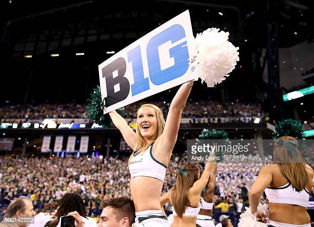 Michigan State Spartans cheerleader celebrates after the 1613 win over the Iowa Hawkeyes in the Big Ten Championship at Lucas Oil Stadium on December...