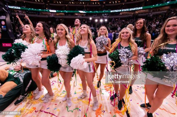 Michigan State Spartans cheerleaders are seen after the Big Ten Tournament championship game between the Michigan State Spartans and the Michigan...